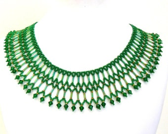 Dramatic Green Collar, Green and Gold Necklace, Exotic Statement Necklace, Emerald Beadwoven Collar with Crystals, Green Beadwork Jewelry