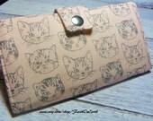 Handmade Long Wallet  BiFold Clutch - Vegan Wallet - Cat faces on peach