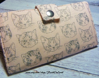 Handmade Long Wallet  BiFold Clutch - Vegan Wallet - Cat faces on peach or half size unisex wallet