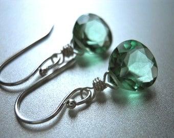 Green Earrings, Amethyst Green Earrings, Gemstone Earrings, Small Earrings, Teeny Amethyst Green Earrings - Sterling or Gold Available