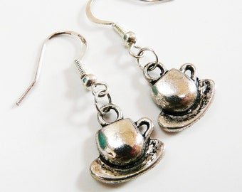 Coffee Cup Earrings Silver Tone Short Dangle Earrings Coffee Cup and Saucer Charm Earrings Earwires in Sterling Silver Plated French Style