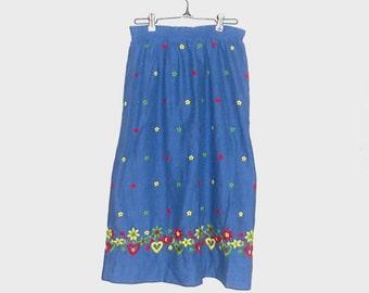 1970s skirt / 70s skirt / small / floral / Blue Flower and Heart Skirt