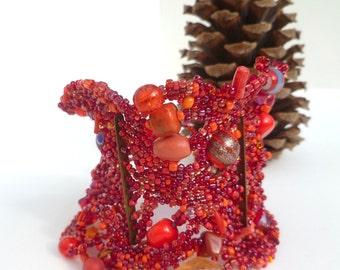 Scarlet lace II cuff, red, free form peyote stitch unique jewelry, beadwork, statement bracelet, romantic