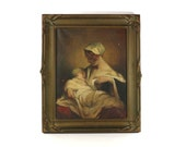 1900s Mother & Baby Breastfeeding Oil Painting, Rare Antique Framed Art, Signed by the Artist, Vintage Hungarian Art