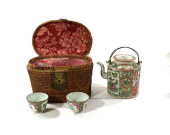 Victorian High Tea Set in Wicker Basket, Antique Rose Medallion, Asian Style Home Decor, Bohemian House Style