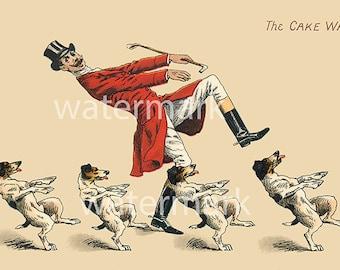 Comical Man Dogs Cake Walk Victorian Post Card Ephemera Vintage Scrapbook Instant Digital Download Printable Whimsical Dancing Hunt Costume