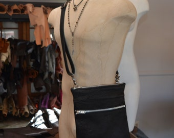 Black Bison Leather Bag with Adjustable Strap Made to Order