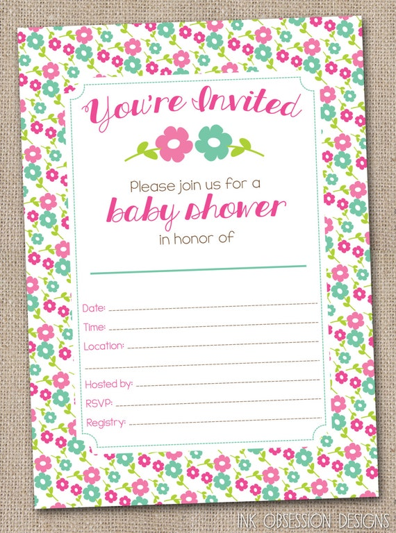fill in boy or girls floral baby shower invitations pink and blue