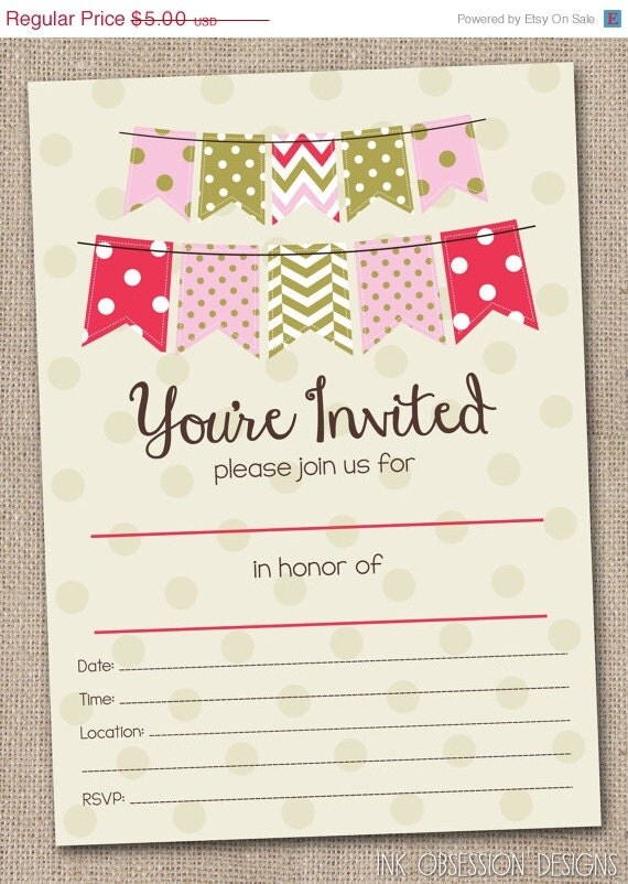 Fill in blank party invitations printable pdf file for Bridal shower fill in invitations