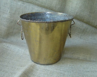 Vintage Brass Pail Bucket Farmhouse Chic Hollywood Glam Hollywood Regency