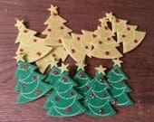 Christmas Tree embellishments christmas stickers felt mini tree stickers Christmas craft supplies kids crafts supplies felt trees stickers