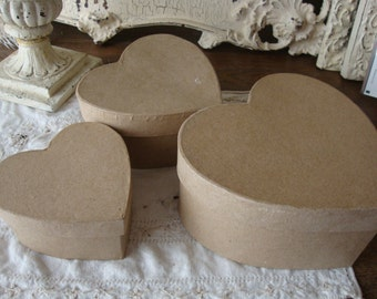 Heart gift box set paper mache nesting boxes wedding favor craft supplies paper art supplies DIY gift box for friend Keepsake gift boxes