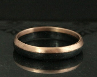 14K Rose Gold and Black Silver Band--A Ring like No Other--4mm--Rose Gold Band--Unique Wedding Band--Rose Gold and Black Ring