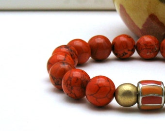Orange Magnesite Modern Beaded Stretch Bracelet, Enamel and Gold Accents, for Her Under 75