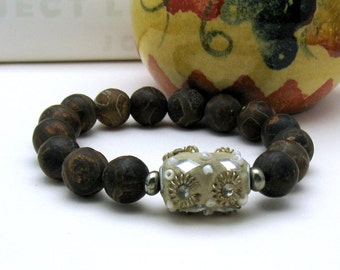 Hand Painted Brown Agate Boho Beaded Bracelet, Ethnic Stretch Bracelet,Chocolate Brown, Unisex under 80, One of a Kind