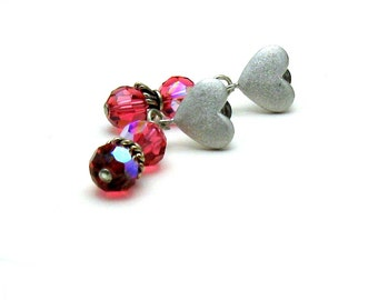 Hot Pink Crystal Post Earrings, Pink Silver Heart Stud Earrings, Under 30, Gift for Mom, US Free shipping