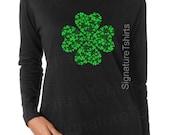 St Patricks Day LONG SLEEVE tee Womens shirt Shamrock Irish St Patty's day t-shirt