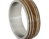 Authentic Whiskey Barrel Ring with Titanium Sleeve and Straps, Titanium Ring with Oak Wood