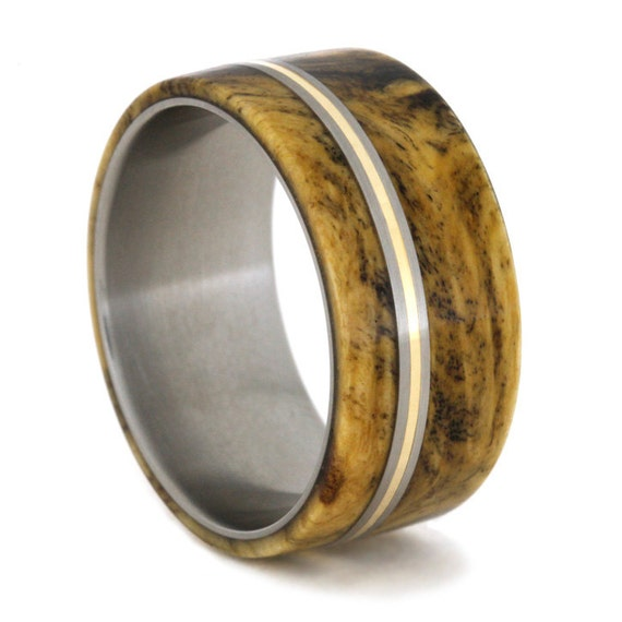 buckeye burl wood ring with bronze and titanium by