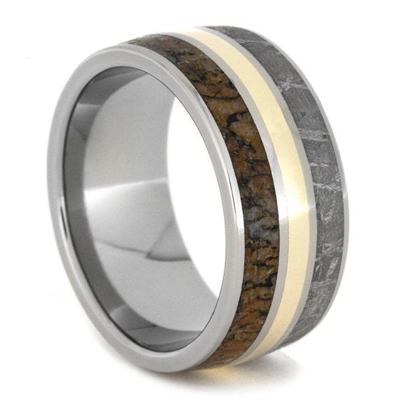 meteorite wedding band dinosaur bone ring with by