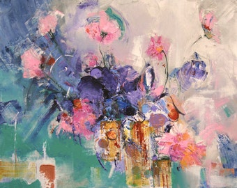 """FLORAL ABSTRACT PAINTING """"Dreamboat"""" Original Art Acrylic on 24"""" x 30"""" x 1.5"""" wrap canvas by Elizabeth Chapman"""
