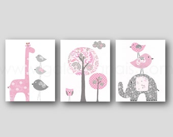Elephant nursery art giraffe nursery wall art Baby Girl Nursery Decor tree bird Kids wall art pink and gray nursery - Set of three prints