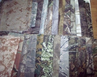 Camouflage non-natural fibers camo fabric scraps 2 lbs dolls quilts scrapbook