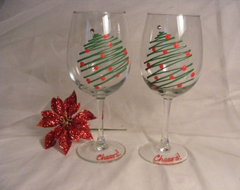 Christmas wine glasses - set of 2 hand painted Christmas tree wine glasses