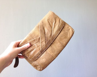 Vintage ASPECTS Purse • Snakeskin Envelope Clutch • 1980s Accessories •Convertible Shoulder Strap Small Going Out Bag • Tan Natural Leather