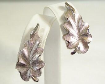 Vintage 60s Monet Brushed Silver Plated Leaf Clip Earrings Oak Leaves