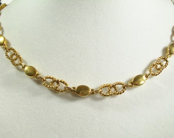 Vintage 60s Crown Trifari Gold Plated Choker Necklace Rope Link Chain Shiny Ovals