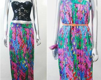 Diane Freis georgette skirt | vintage 1980s pleated skirt | 80s sheer skirt