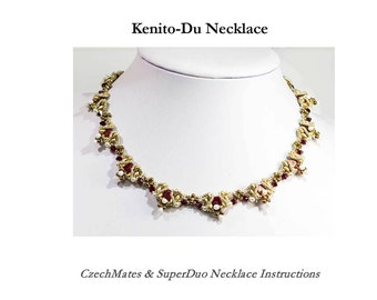 KENITO DU Czech Tiles and SuperDuo Beadwork Necklace tutorial instructions for personal use only