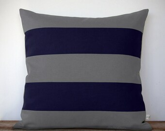 Rugby Striped Pillow Cover in Gray and Navy Natural Linen by JillianReneDecor - Modern Home Decor - Stripes - Gift for Him - Masculine Men