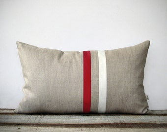 MARSALA and Cream Striped Pillow Cover - 12x20 - Modern Home Decor by JillianReneDecor - Colorblock Stripes - Pantone 2015