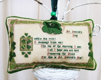 Paddy's Day Message from Me Irish Ornament / Green Shamrocks / St Patrick's Day Ornament / Cream, Green / Gold Harps / Unique Gift Under 20