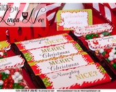 Candy Bar Wrappers - Santa Christmas Large 1.55 oz Hershey Bar Candy Wrappers Images Digital Collage Sheet JPG and PDF christmas printable