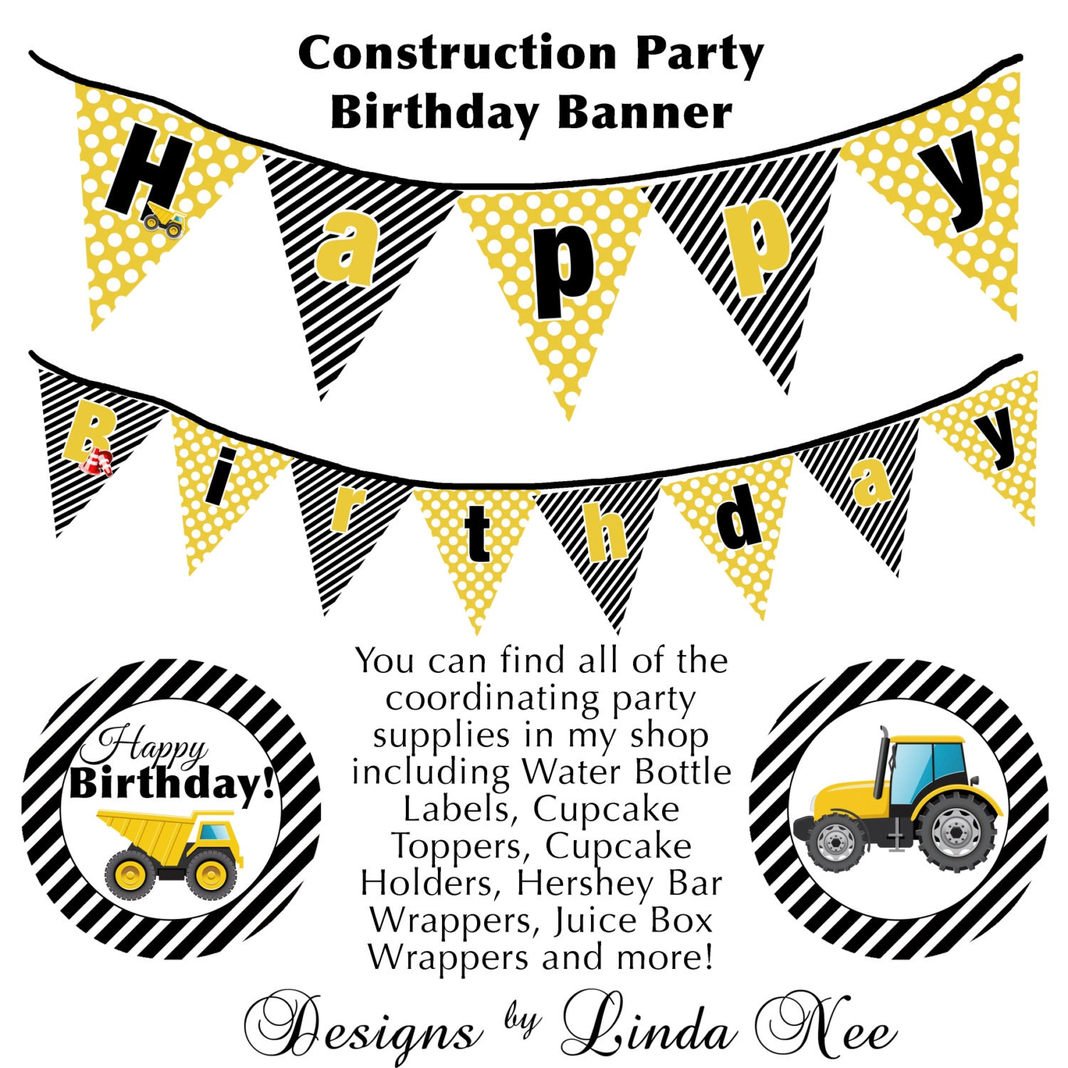 INSTANT DOWNLOAD Construction Party Printable Full Size BANNER