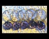Stitch Markers: 5 Metallic Purple Vintage Buttons