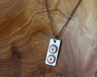 Custom Initials Sterling Silver Thin Plate Necklace  (E0481)
