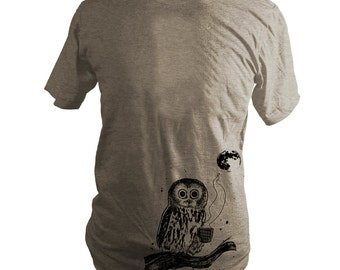 Light Brown Coffee Owl, Triblend T-Shirt, Screen Printed, Bird, Moon, Unisex, Men, Women - Gifts for Him or Her