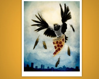 Pizza Stealing Pied Crow Giclee Illustration Print, Bird, Thief, 11x14, For Bird Lovers