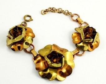 Vintage Two Tone Metal Rose Flower Bracelet, Yellow Gold and Copper Tone, Adjustable Bracelet