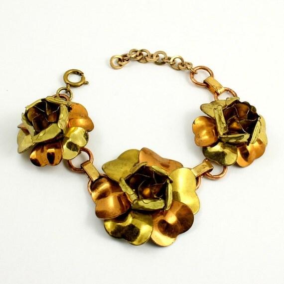 Vintage Mid Century Metal Flower Bracelet, Gold and Copper Tone, Adjustable