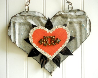 Tin heart wall hanging folk art  mixed media vintage metal key ornate keyhole silver black red home wedding  decor Valentine N5