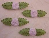 4pc Vintage Chic LAVENDER Silk Ribbon Embroidered Spider Rose Flower Applique Christening Gown Baby Doll Hair Bow