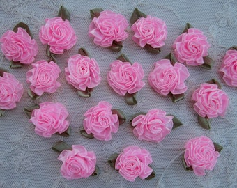 18pc PINK Satin Ribbon Fabric Flower Applique Shabby Chic Baby Doll Carnation Cabbage Rose Bow #2