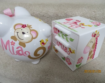 piggy bank and jewelry box hand painted personalized you choose design