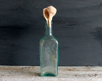 Vintage Aqua Bottle Shabby Cottage Chic Home Decor Beach House with Stopper