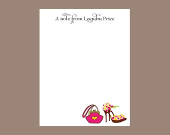 High heel and purse notepad, personalized notepad, teacher gift, stocking stuffer, pink and orange